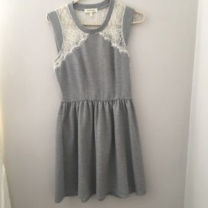 Gray Fit and flare dress with White Lace